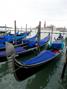 Stowed Gondolas early morning before the tourist crush