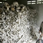 "Cambodian Meo Soknen, 13, stands inside a small shrine full of human bones and skulls, all victims of the Khmer Rouge,  near her home Tuesday, March 31, 2009, in the Kandal Steung district of Kandal province, Cambodia.  Kaing Guek Eav, also know as ""Duch"", the commander of the infamous Toul Sleng prison, accepted responsibility Tuesday during the second day of a UN-backed tribual for torturing and executing thousands of inmates at Toul Sleng.  The small shrine, located 27 kilometers, (17 miles) south of Phnom Penh is one of many out of the way and forgotten monuments to the ""Killing Fields.""  (AP Photo/Heng Sinith)"